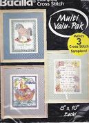 Bucilla Stamped Cross Stitch Birth Records #64185 Three 20cm x 25cm Samplers Noah's Ark Rocking Horse