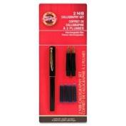 Calligraphy Pen Set, 2-Nib/4-Ink Cartridges, Black/Gold, Sold as 1 Set, 3 Each per Set