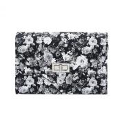 Elegant PU Leather Floral Turnlock Flap Clutch Bag Handbag - Diff Colours