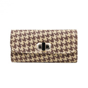 Classic Houndstooth Turnlock Flap Straw Clutch Bag Handbag - Diff Colours