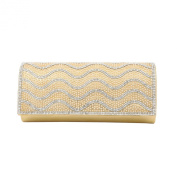 Rhinestones & Pearl Beads Wave Front Glitter Shine Clutch Evening Bag - 4 Colours