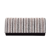 Rhinestones & Pearl Beads Front Glitter Shine Clutch Evening Bag - Diff Colours