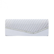 Elegant Pleated Satin & Crystal Flap Clutch Evening Bag - Diff Colours Avail