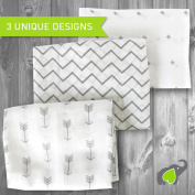 Muslin Swaddle Blankets 3 Pack - SavvyBaby 120cm x 120cm blanket in Chevron, Cross & Arrow Patterns - Best Soft Cotton Muslin Blankets - Best Baby Shower Gift - Perfect for Nursery Sets - Unisex for Boys or Girls
