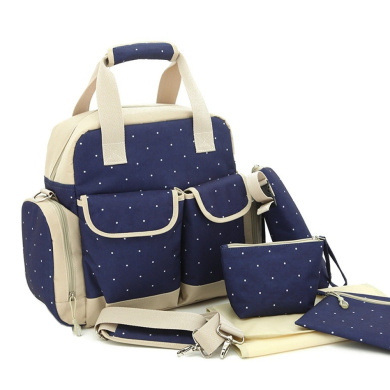 Fashion Multifunction Nappy Tote Bags Baby Nappy Bag Larger Capacity Mummy Backpack 3 Carrying Ways (set of 5) (Dark Blue)