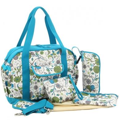 Win8Fong Multifunctional Mummy Large Capacity Handbag Tote Shoulder Bag (Green Flowers Pattern)