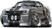 """1967 Ford Mustang Shelby GT500 Eleanor Large 60cm x 48"""" (1.2m Long) Wall Graphic Decal Sticker Man Cave Garage Decor Boys Room Decor"""