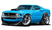 """1970 Ford Mustang Boss 429 Large 60cm x 48"""" (1.2m Long) Wall Graphic Decal Sticker Man Cave Garage Decor Boys Room Decor"""