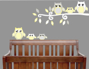 Yellow Owl Wall Decals / Owl Stickers / Owl Nursery Wall Decor