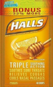 Halls Menthol - Cough Suppressant/Oral Anaesthetic, Honey-Lemon, Drops, 40 ct. Pack of 2