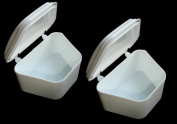 2 White Denture Bath Retainer Box Orthodontic Mouth Guard Dental Storage Container