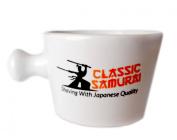 Classic Samurai Deluxe Porcelain Shaving Mug With Handle, Cream