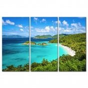 3 Pieces Modern Canvas Painting Wall Art The Picture For Home Decoration Trunk Bay St John Virgin Islands United States Seascape Beach Print On Canvas Giclee Artwork For Wall Decor