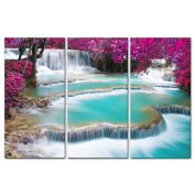 3 Pieces Modern Canvas Painting Wall Art The Picture For Home Decoration Turquoise Water Of Kuang Si Waterfall Luang Prabang Laos Landscape Waterfall Print On Canvas Giclee Artwork For Wall Decor