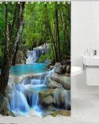 Shower Curtain Waterfalls Nature Scenery Bathroom Waterproof Fabric 180cm with 12 Hooks