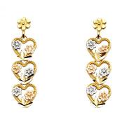 14K Tri Colour Gold Diamond Cut Fancy Heart & Flower Dangle Earrings