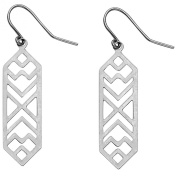 14k White Gold Fancy Filigree Dangle Earrings