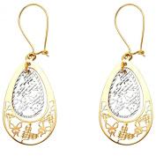 14k Two Tone Gold Fancy Filigree Dangle Earrings