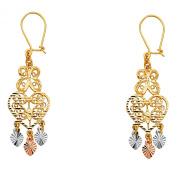 14K Tri Colour Gold Fancy Chandelier Dangle Earrings