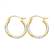 14k Two Tone Gold 2mm Thickness Hoop Earrings