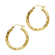 14k Yellow Gold 3mm Thickness Diamond-Cut Hoop Earrings