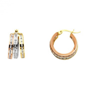 14k Tri Colour Gold 6mm Thickness Triple Huggie Hoop Earrings