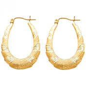 14k Yellow Gold Diamond Cut Fancy Hollow Oval Hoop Earrings