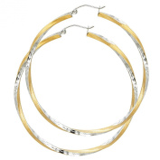 14k Two Tone Gold 2.6mm Thickness Hinged Hoop Earrings