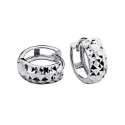 14k White Gold 5mm Thickness Multifaceted Hoop Huggies Earrings