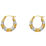 14k Two Tone Gold Fancy Hoop Earrings