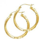 14k Yellow Gold 2.6mm Thickness Hinged Hoop Earrings
