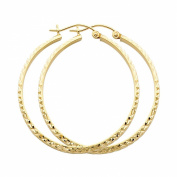 14k Yellow Gold 3mm Thickness Hoop Earrings