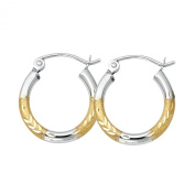 14k Two Tone Gold 2mm Thickness Hinged Hoop Earrings