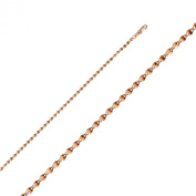 14k Pink Gold 2mm 14k Pink Gold Hollow Curve Mirror Chain Necklace