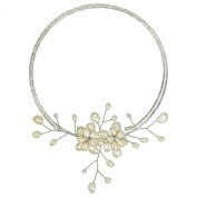 White Pearl Floral Ray Choker Wire Wrap Necklace