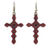 Red Rhinestone Burnished Gold Tone Western Look Dangle Cross Earrings