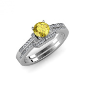 Yellow Sapphire and Diamond Engagement Ring & Wedding Band Set 1.30 ct tw in 14K White Gold