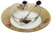 L'Shanah Tovah Happy & Healthy Honey Dish With Small Plate Apple Design - Rainbow - Tray 18cm D - Bowl - 5.1cm H