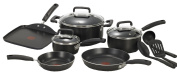 Home Essential T-fal C111SC Signature Nonstick Thermo-Spot Heat Indicator Cookware Set 12-Piece Black