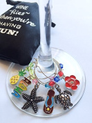 Hand Painted Hawaiian Wine Glass Charms (Tags/Markers) with Sateen Storage Bag - Set of 6