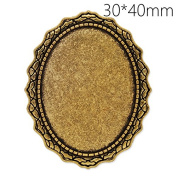 Newest-30x40mm Oval Blank Bezel Antique Gold Plated Brooch Findings with Safety Pin Fastening-10pcs