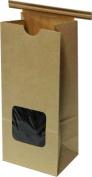 Kraft 0.2kg. Tin Tie Bakery Bag w/ Square Window - 50 Pack