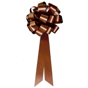 Brown Pull Bows with Tails - 20cm Wide, Set of 6