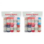 BambooMN Brand Cotton Select Bonbon Yarns - Assortment 98 - 10x 10g Solid Colour Mini Ball - 2 Pack