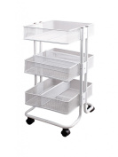 Storage Studios Mobile Craft Cart with Dividers, 27.5 x 38cm x 35cm , White
