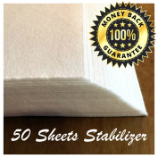 Tear Away Stabiliser Complete Bundle - Pack 50 Precut Sheets Medium Weight 50ml - 30cm x 25cm -Fits 5x 7 Hoops .  es, Best for Embroidered Backpacks and Baby Blankets