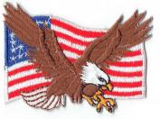 Bald Eagle W/ American Flag Iron On Biker Patch