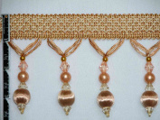 8.9cm Tassel Fringe Beads Wood Ball Trim Gold Peach Per Yard