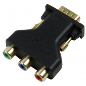 TOOGOO(R) 15 Pin VGA Male to 3 RCA Female M/F Adapter Connecter Converter Black