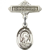 Sterling Silver Baby Badge with St. Brigid of Ireland Charm and Godchild Badge Pin 2.5cm X 1.6cm